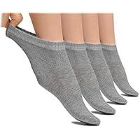 Hugh Ugoli 轻质女士*脚踝袜竹纤维薄袜无缝脚趾无束缚袜口,4 双装  浅灰色 Shoe Size: 6-9