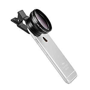 TECHO® Universal Professional HD Camera Lens Kit for Iphone 6 / 6 Plus / 5s / 5, Samsung Galaxy S6 / S5, Mobile Phone (0.45x Super Wide Angle Lens + 12.5x Super Macro Lens + 37mm Thread Clip Holder)