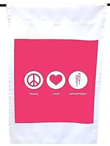 Rikki Knight Peace Love Orthopedist 热带粉色屋子或花园旗帜,30.48 x 45.72 cm 旗帜尺寸带 27.94 x 27.94 cm 图像