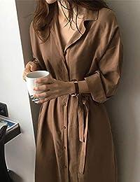 Goralon 衬衫女新款女装宽松长袖衬衣冷淡慵懒风翻领长款系带风衣外套女