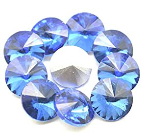 Catotrem 水晶宝石圆形花式玻璃水钻珠 DIY 礼服首饰制作 100 件 浅蓝色 10mm
