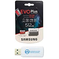 Samsung Evo Plus 512GB Micro SDXC 内存卡 Class 10 适用于安卓手机 - Galaxy A51、A50、A40、A30 (MB-MC512G) 捆绑带 (1) Everything But Stromboli MicroSD & SD 读卡器