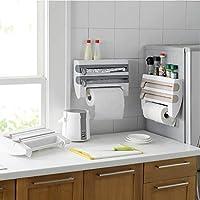 创意多功能厨房保鲜膜收纳架带切割器 家用免打孔铝箔烧烤纸纸巾架壁挂式置物架 (灰蓝)