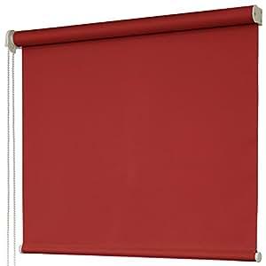1級遮光 防炎ロールスクリーン オーダー感覚17色 左操作 ディープレッド 红色 幅 80cm