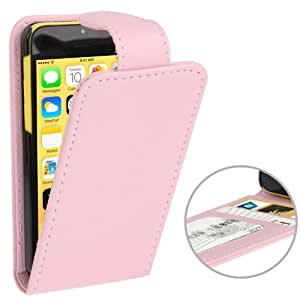 JUJEO Vertical Flip Leather Case with Credit Card Slots for iPhone 5C - Non-Retail Packaging - Pink