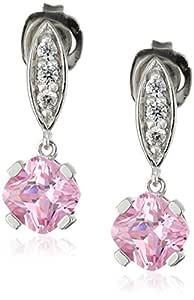 纯银粉色方晶锆石和白色方晶锆石垫吊坠耳环