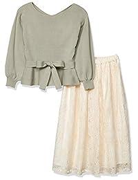 PROPORTION BODY DRESSING 连衣裙 显腰针织衫×蕾丝喇叭裙套装 女士