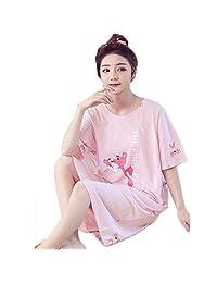 DaiQimi 黛琪迷 睡裙女夏季韩版清新学生可爱粉红豹睡衣短袖纯棉夏天
