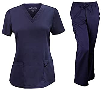 Soulful Scrubs 女式 2336 V 领上衣/9178 3 袋工装裤套装-*蓝-小号/小号