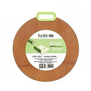 双枪整竹加厚切菜板实竹厨房家用长方形砧板案板实木菜板多彩挂钩硅胶把手 圆形绿色 DB1133-LV(供应商直送)