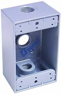 Topaz Electric WB2350 1/2 英寸 3 孔防风雨盒,灰色双口琴