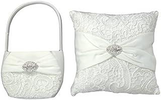套装 of LILLIAN ROSE Ring bearer 枕头和花朵女孩篮  Vintage Lace