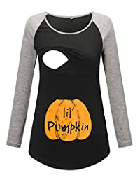 Glampunch 女式*喂养 T 恤拼接短袖插肩袖孕妇和哺乳上衣 Black/Light Grey for Halloween Small