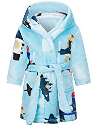 Ameyda 女童儿童成人柔软法兰绒浴袍,1 岁 - 成人 XL 码 Blue - Plane 7-8 Years