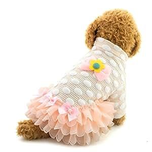SMALLLEE_LUCKY_STORE 小狗裙蓬裙波尔卡圆点毛衣宠物服装,L 码,蓝色 粉红色 L