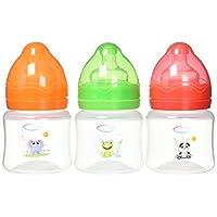 BornCare 宽口奶瓶带硅胶奶嘴快速流量,适合 6 个月以上宝宝,4 盎司,3 件装