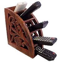 印度工艺创意木制多遥控架/支架/架子,可节省空间的 5 插槽电视遥控器储物收纳架,木制花卉雕刻遥控架支架,家庭办公室装饰