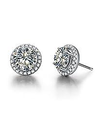 真银色 1/2 克拉/件光环圆形 NSCD 模拟钻石耳钉 女式