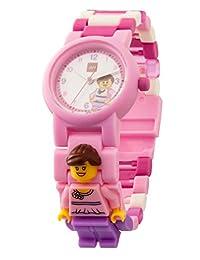 LEGO 乐高 Classic 8020820 粉色 儿童手表,配有迷你人物和节式表带,粉色/紫色,塑料,表壳直径 28 毫米,指针式石英表,男孩/女孩,官方