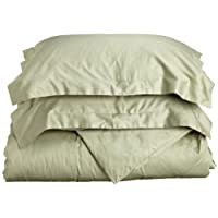 Impressions Genuine Egyptian Cotton 400 Thread Count, Single Ply, Twin 2-Piece 2-Piece Duvet Cover Set, Solid, Sage