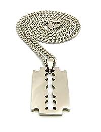 男士嘻哈抛光剃刀刀片吊坠 60.96 厘米盒式绳古巴链项链