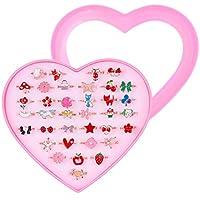 Weirui 36 件小女孩可调节戒指珠宝戒指适合小女孩装扮和玩耍,女婴戒指礼品心形盒