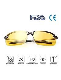 夜间驾驶的*佳*眼镜 夜视偏光风险 减少镜片 防眩光驾驶眼镜 男女通用运动太阳镜 UV400 防护金属镜框超轻