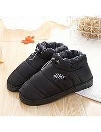 冬季保暖羽绒布棉拖鞋防滑包跟保暖舒适防滑静音男女室内居家情侣家居厚底月子棉鞋 (42-43适合(41-42), 男黑色)