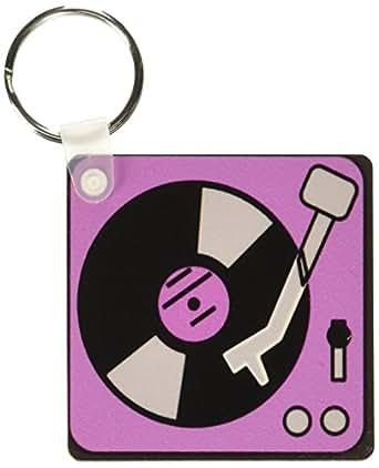 3dRose 复古粉红色和黑色录音播放器 - 钥匙链,6.35 x 11.43 厘米,2 件套 (kc_43685_1)
