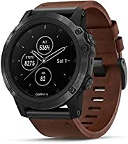 GARMIN 佳明 中性款 Fenix 5X Plus 棕色皮革表带 蓝宝石石英表盘 多功能运动 GPS 智能手表