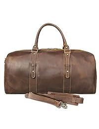 Texbo 男士全粒面牛皮大夜旅行行李包行李包 23 英寸