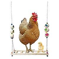 鸡秋千天然木,彩色鸡玩具带铃铛适合母鸡手工制作猪栖木鸡木架梯子玩具适合母鸟鹦鹉训练