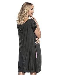 快乐妈妈。 女式 Labor Delivery Hospital Gown 哺乳孕妇。 097p 石墨橙色 US 8/10
