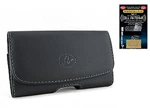 摩托罗拉 Atrix HD 水平皮革保护套带磁扣和皮带环(加大尺寸适合 w/Otterbox 通勤者) + 手机天线增高器