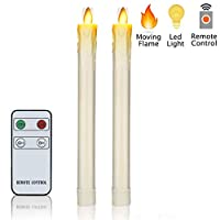 """无焰蜡烛 闪烁 舞火焰 电池供电 LED 蜡烛 装饰性真实蜡柱 带遥控器 Ivory Dripping H9"""" xD1"""""""