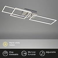 Briloner Leuchten - LED 吸顶灯,吸顶灯可调光,包括*功能,2 个 LED 模块可旋转,43.8 瓦,3,300 流明,3,000 开尔文,铬铝,928 x 260 x 96 毫米(长 x 宽 x 高)