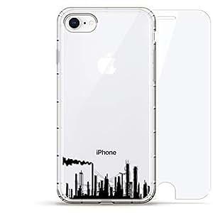 Luxendary Air 系列 360 束,设计师款手机壳 Plus 钢化玻璃 iPhone 8/7LUX-I8AIR360-FACTORY1 Industrial Skyline 透明