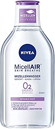 NIVEA 妮维雅 MicellAIR 透气胶束水,4片装(4 x 400 ml),多合一卸妆液,增加氧气摄取,胶束清洁水,零残留