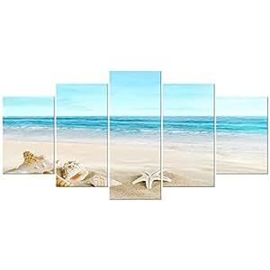 """Pyradecor Seashell Landcape 海景艺术微喷油画印刷品五件套,现代拉伸加框帆布墙艺术海洋海滩图片家居艺术品 蓝色 16x24""""x2pcs,16x32""""x2pcs,16x40""""x1pc CA-AH5007-XL"""