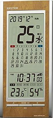 Rhythm(Rhythm)桌面时钟 茶色木纹加工 26.5x11.8x3cm 电波表 温度计 湿度计 日历 中暑 预防 8RZ219SR23
