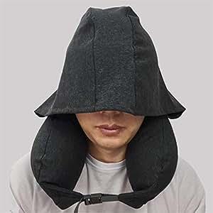 日式U型枕带帽护颈枕 全棉微粒子旅行枕午休枕创意飞机靠枕透气午睡枕 (深灰色)