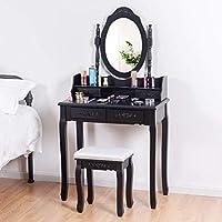 SPSUPE 梳妆台套装,椭圆形镜子和加垫凳,木质化妆桌,带 4 个抽屉,优雅的装饰桌子和收纳盒,黑色