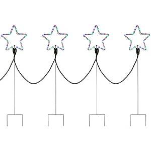 WeRChristmas LED 闪光多色星绳灯剪影,120 厘米 - 大号,4 件套