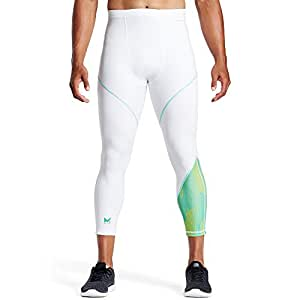 Mission Vaporactive Dwayne Wade Signature Collection Compression 3/4 Tights, Maze Aqua Yellow/White, Large