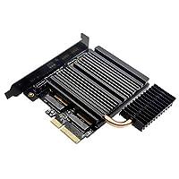 EZDIY-FAB Dual M.2 适配器,带热管冷却系统,M.2 PCIe NVMe 和 PCIe AHCI SSD 到 PCIe 3.0 x4 和 M.2 SATA SSD 到 SATA III 适配器卡