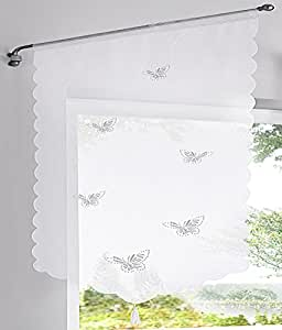 LivebyCare 刺绣罗马遮光帘透明窗帘层 Pelmet voile Valance 面板适用于办公室家庭卧室。 Hollow Out Butterfly 17 * 23 inch LC_ZLBH-35-603-bai-4060