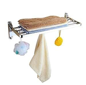 ELLO&ALLO 22.8 英寸壁挂式可折叠双层毛巾架毛巾杆毛巾架挂钩高保真空间铝浴室厨房配件套装,香槟色/金色/银色 抛光银色 9008s