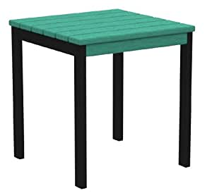 POLYWOOD Euro 18-Inch Side Table - Black Aluminum Frame Aruba