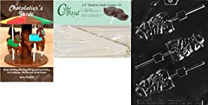 Cybrtrayd 'Mr. Snowman Lolly 圣诞巧克力糖果模具,带 50 个 4.5 英寸棒糖棒和巧克力者指南