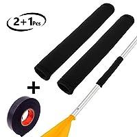Unzano 皮艇桨握把 1 对和 1 个抓握胶带,舒适防滑皮艇配件,实心轴皮艇划桨防止水泡和老茧